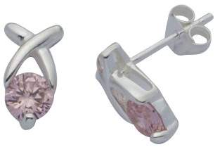 Adara Silver Pink Cubic Zirconia Kiss Earrings