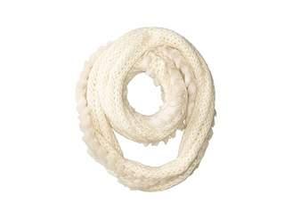 San Diego Hat Company BSS3544 Crochet Infiniti Knit Scarf with Fur Trim