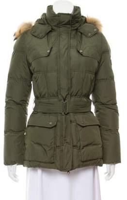 ADD Fur-Trimmed Puffer Coat Green Fur-Trimmed Puffer Coat