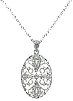 Lord & Taylor Oval Filigree Pendant Necklace