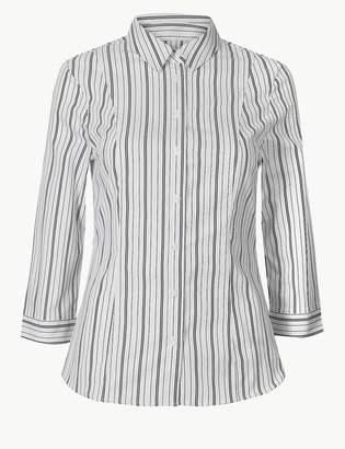 Marks and Spencer Cotton Rich Striped 3/4 Sleeve Shirt