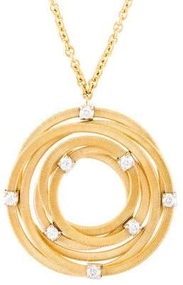 Marco Bicego 18K Interlocking Ring Diamond Pendant Necklace