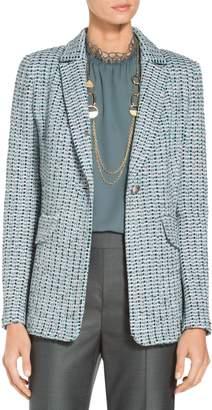 St. John Micro Striped Checked Knit Jacket