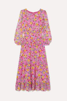 Saloni Isabel Ruffled Printed Silk-georgette Midi Dress - Pink