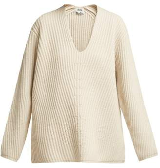 Acne Studios Deborah V Neck Wool Sweater - Womens - Ivory