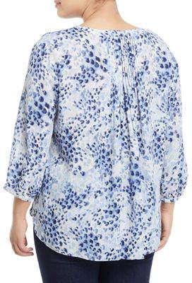 NYDJ Plus 3/4 Sleeve Button-Front Blouse, Plus Size