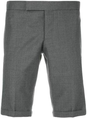 Thom Browne Engineered Striped Side Seam Solid Wool Twill Skinny Shorts