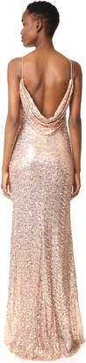 Badgley Mischka Collection Cowl Back Sequin Gown $615 thestylecure.com