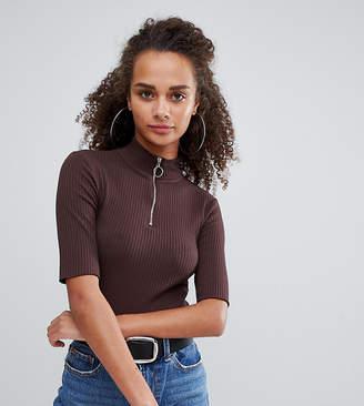 Bershka zip front top with short sleeve