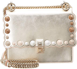 Fendi Kan I Small Pearly-Studded Leather Crossbody Bag