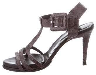 Roger Vivier Snakeskin T-Strap Sandals