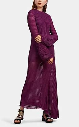 Chloé Women's Open-Back Knit Cotton-Blend Maxi Dress - Purple