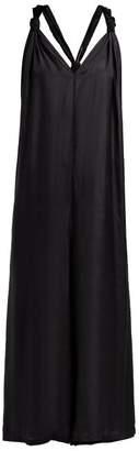 Mes Demoiselles Hayati V Neck Wide Leg Crepe Jumpsuit - Womens - Black