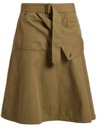 Jw Anderson - Folded Front A Line Cotton Skirt - Womens - Khaki