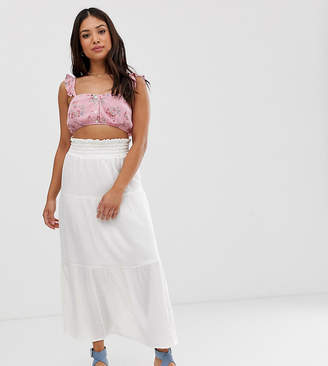 Asos DESIGN Petite cheesecloth tiered summer maxi skirt