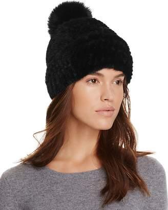 Maximilian Furs Mink Fur Hat with Fox Fur Pom-Pom - 100% Exclusive
