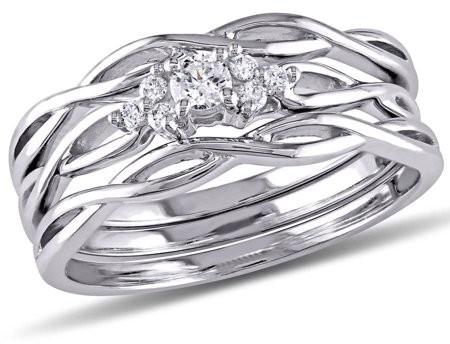 Miabella 1/6 Carat T.W. Diamond 10kt White Gold Three-Piece Bridal Set