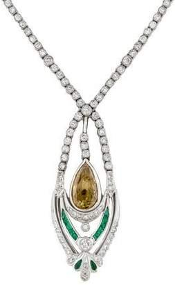 Platinum Diamond & Emerald Pendant Necklace