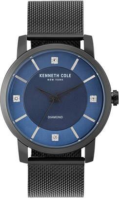 Kenneth Cole New York Men's Diamond-Accent Black Stainless Steel Mesh Bracelet Watch 43.5mm KC15105001