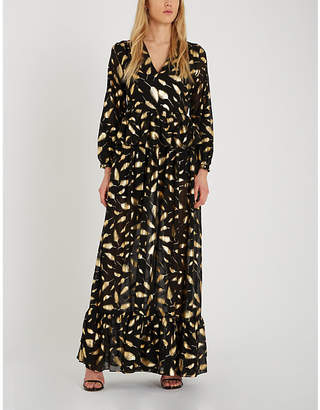 Forever Unique Metallic gold leaf print maxi dress