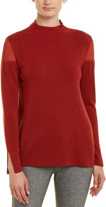 Lafayette 148 New York Sheer-Trim Wool-Blend Sweater