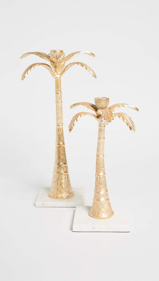 Gift Boutique Palm Tree Candle Holder Set of 2