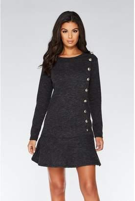 Quiz Grey Knit Button Detail Frill Tunic Dress