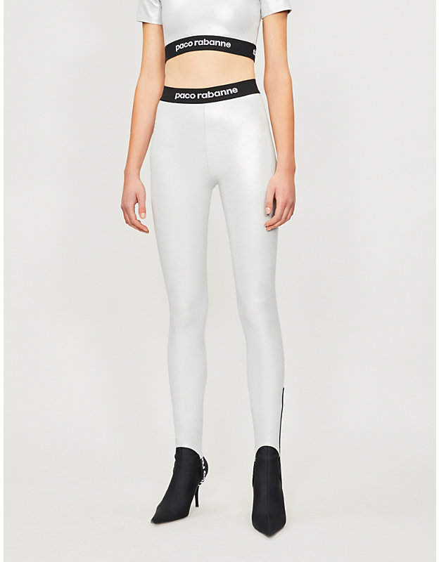 Metallic-coated stretch-jersey leggings
