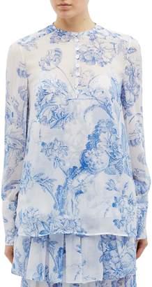 Oscar de la Renta Floral toile print silk chiffon shirt