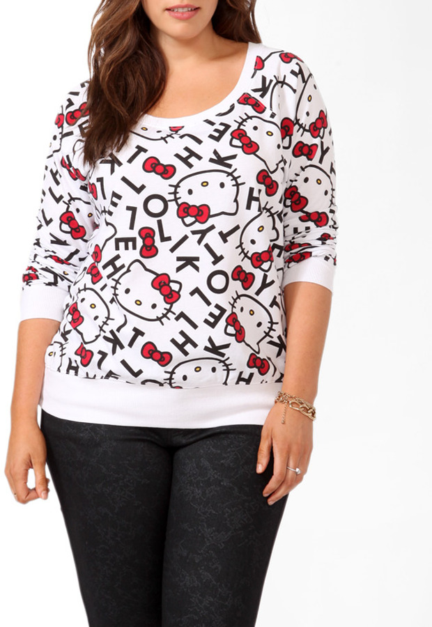 Forever 21 FOREVER 21+ Hello Kitty® Letters Pullover