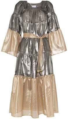 Lisa Marie Fernandez Metallic cotton blend belted peasant dress