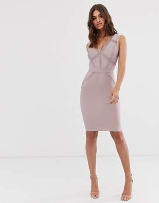 Lipsy plunge front bandage midi dress in dusty violet
