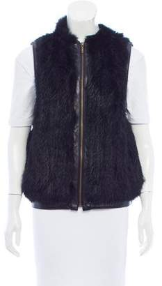 Surell Leather-Trimmed Fur Vest
