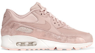 Nike Air Max 90 Premium Cracked Metallic-suede, Leather And Mesh Sneakers - Antique rose