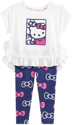 Hello Kitty 2-Pc. Ruffled Top & Printed Leggings Set, Baby Girls