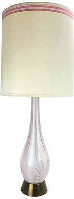 One Kings Lane Vintage Murano Glass Pink/White Table Lamp - Uptown Found