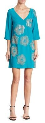 Trina Turk Glitterati Embellished Silk Shift Dress $428 thestylecure.com