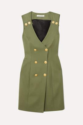 Pierre Balmain Double-breasted Wool-twill Mini Dress - Army green