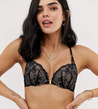 245ab988587 New Look strap back push up bra in black