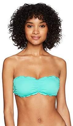GUESS Women's Ruffle Trim Bandeau Bikini Top