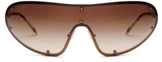 Prada Logo Engraved Shield Metal Sunglasses - Womens - Gold