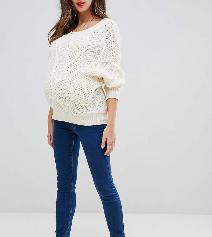 ASOS Maternity ASOS DESIGN Maternity Ridley high waist skinny jeans in flat blue wash with under the bump band