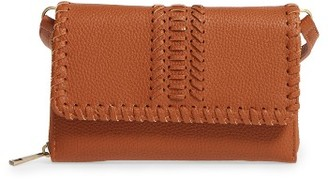 Street Level Saddle Stitch Convertible Faux Leather Crossbody Bag - Brown $42 thestylecure.com