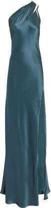 Michelle Mason One Shoulder Blue Gown