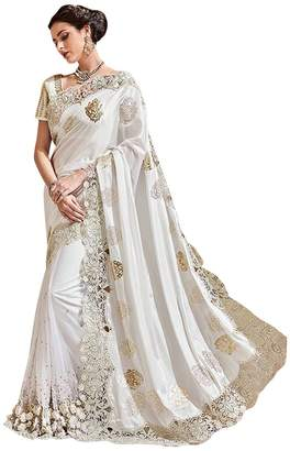 ETHNIC EMPORIUM White Bollywood Bridal Designer Saree Sari For Women Party Wear Black Friday Special Wedding Blouse Ceremony 615 2H