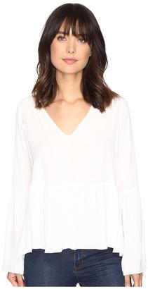 Brigitte Bailey - Leslie Bell Sleeve Peplum Long Sleeve Top Women's Clothing $64 thestylecure.com