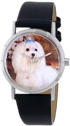 Whimsical Watches Kids' R0130051 Classic Maltese Black Leather And Silvertone Photo Watch