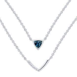 Fine Jewellery Sterling Silver Crystal Layered Pendant Necklace