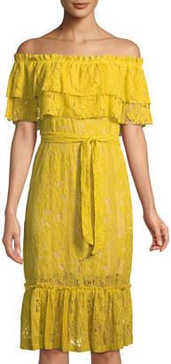 Neiman Marcus Off-The-Shoulder Lace Peasant Dress