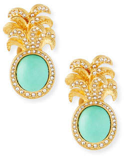 Sequin Pineapple Clip-On Stud Earrings